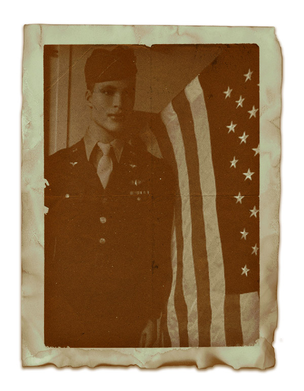 military guy next to flag